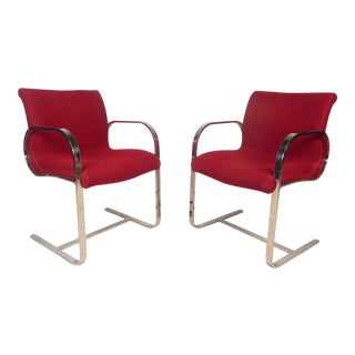 Pair of Vintage Modern Cantilever Armchairs For Sale