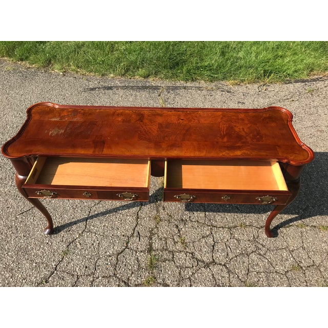 Brown Traditional Walnut Console by Hekman For Sale - Image 8 of 10