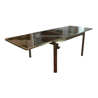 Mid-Century Design Institute of America Glass & Bronzed Modern Dining Table For Sale