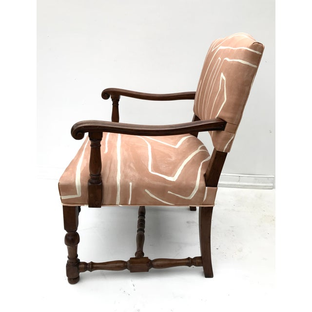 Orange French Renaissance Revival Lounge Chair in Graffito Fabric For Sale - Image 8 of 12