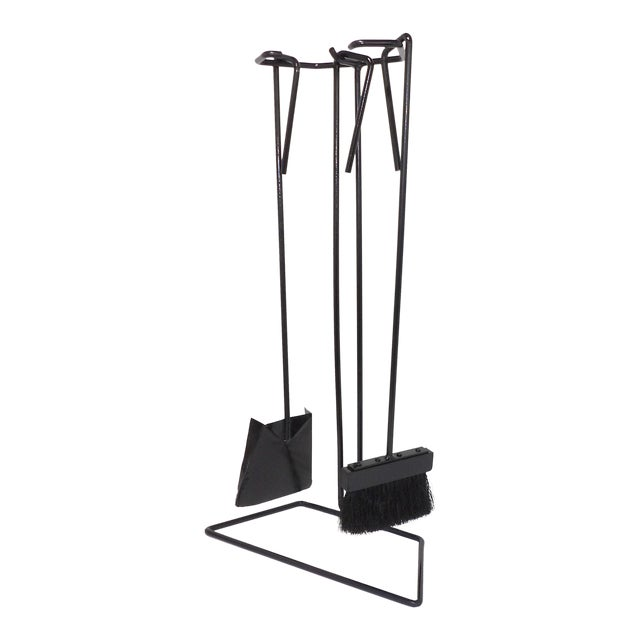 Mid-Century Modern Wrought Iron Fireplace Tool Set For Sale