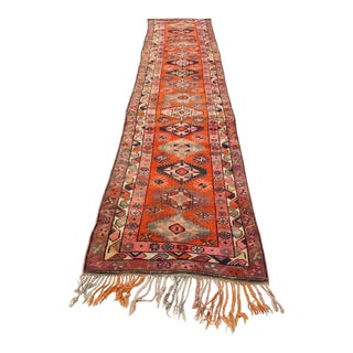 Turkish Vintage Anatolian Herki Rug Runner Geometric Design Runner For Sale