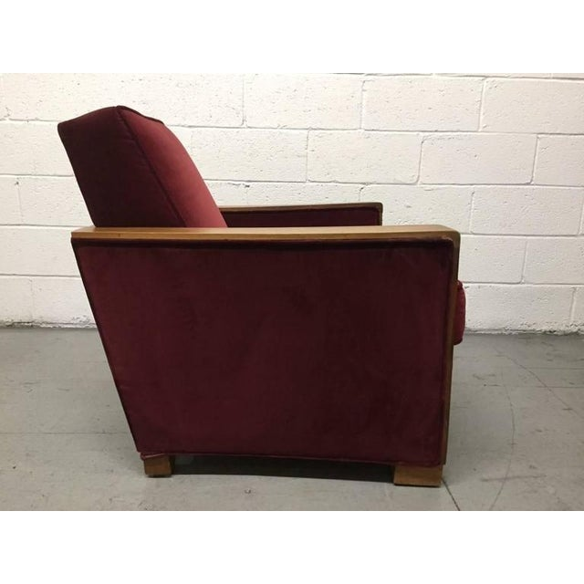 Art Deco Pair Art Deco Club Chairs Attributed to Jacques Adnet For Sale - Image 3 of 6