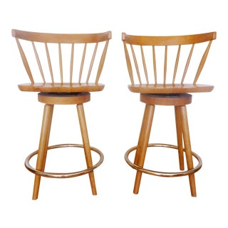 1960s Modern Windsor Counter Barstools - a Pair For Sale