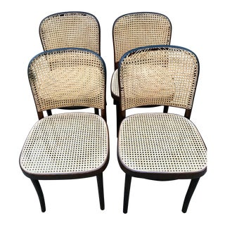 1930s Vintage Thonet Caned Cafe Chairs- Set of 4 For Sale