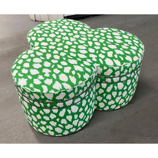 2010s Contemporary Large Cloverleaf-Shaped Ottoman Upholstered in Kate Spade Fabric For Sale - Image 5 of 9