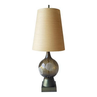 1960s Lotte and Gunnar Bostlund Hand Painted Glass Table Lamp For Sale
