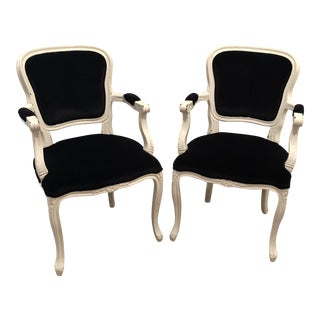 Hollywood Regency Black Velvet Upholstered White Arm Chairs - a Pair For Sale
