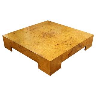 Mid Century Modern Milo Baughman Parsons Burl Wood Square Low Coffee Table 1970s