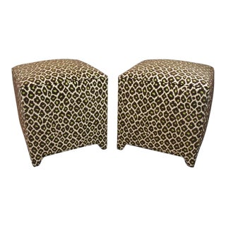 Brown and Green Woven Leopard Fabric Ottomans - A Pair