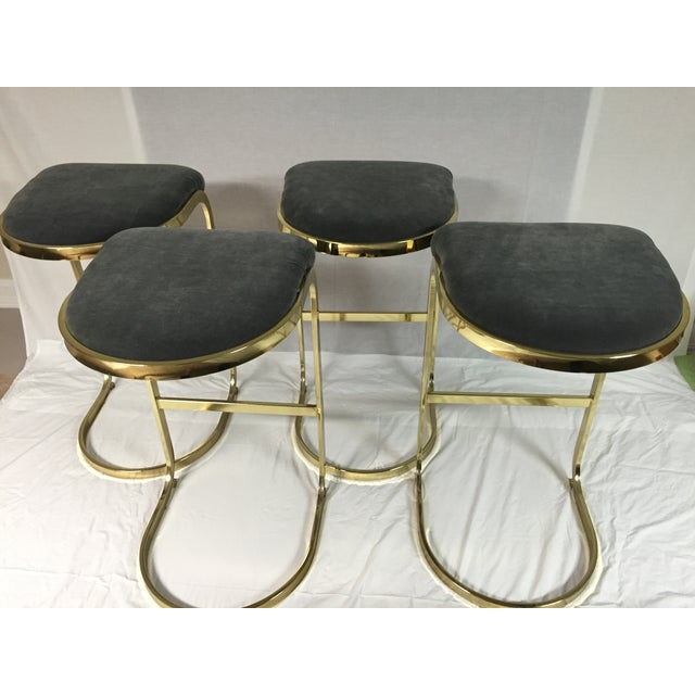 Gold Vintage Brass & Gray Velvet Bar Stools - a Pair For Sale - Image 8 of 8
