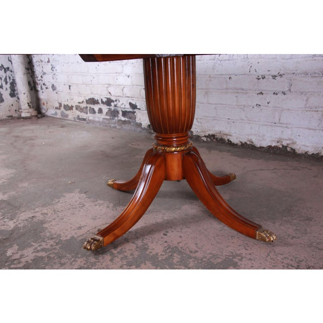 Outstanding 13 Foot Burled and Inlaid Regency Style Extension Dining Table For Sale - Image 11 of 13