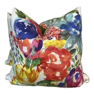"Watercolor Floral 22"" Pillows-A Pair For Sale"