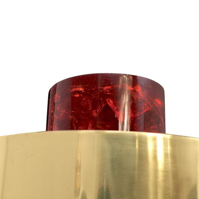 """""""Brass on the Rock"""" Table Lamp by Sylvan S.F. Cylindrical base and finial in lava red ice-cracked resin (fractal resin)...."""