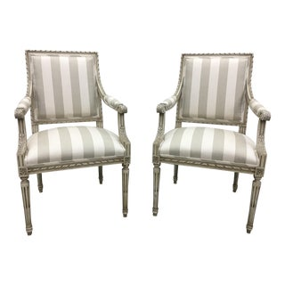 Mid-19th Century Italian White Linen Upholstered Arm Chairs - a Pair For Sale