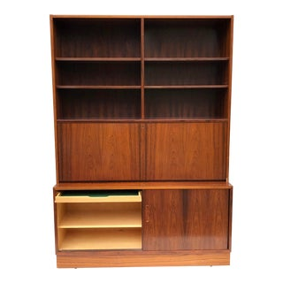 Scandinavian Modern Rosewood Bookcase With Drop Front Desk For Sale