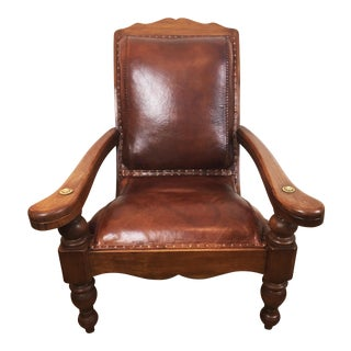 Vintage Mid Century Mahogany and Leather Chair For Sale