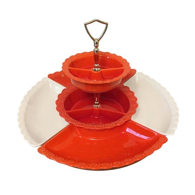 1960s Vintage Orange & White Ceramic Lazy Susan Snack Server For Sale