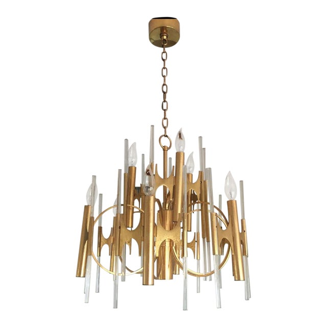 1950s Gaetano Sciolari Brass and Glass Chandelier For Sale