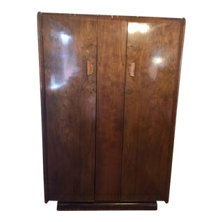 1930s Vintage Art Deco Burl Wood Wardrobe Armoire For Sale