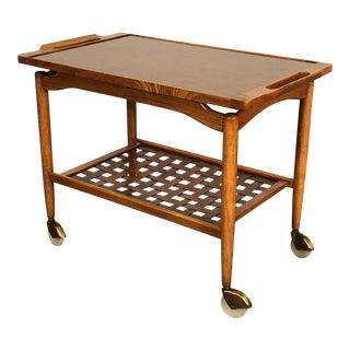 Lane Perception Walnut Mid-Century Modern Bar Cart / Trolley For Sale