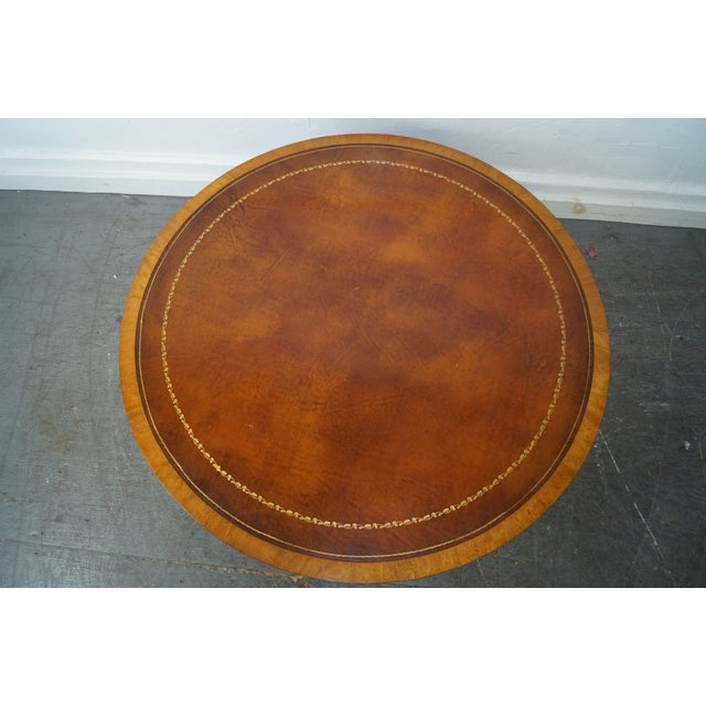 Mahogany Inlaid Leather Top Round Federal Style Coffee Table - Image 8 of 10