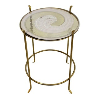 Mid-Century Modern Murano Art Glass & Brass Side End Table Italian For Sale