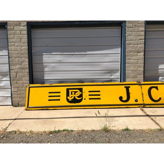 1920s Antique j.c. Penney Co. 3-Panel Baked Enamel Metal Sign For Sale - Image 4 of 10