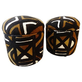 African Malian Mud Cloth Ottomans - Pair