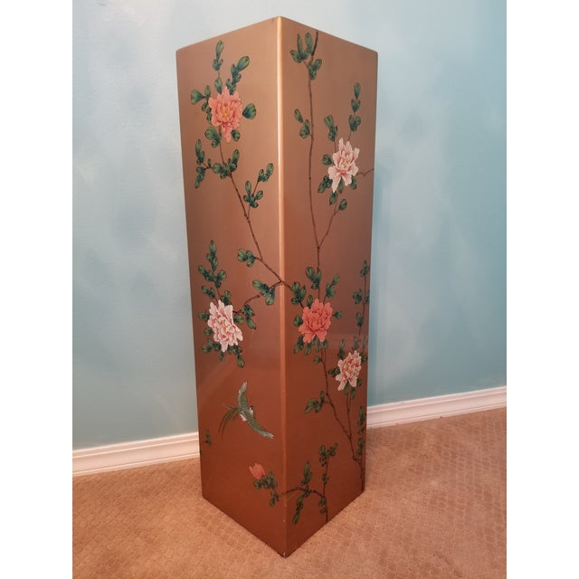 Asian Vintage Gold Tone Hand Painted Lacquered Display Pedestal For Sale - Image 3 of 6