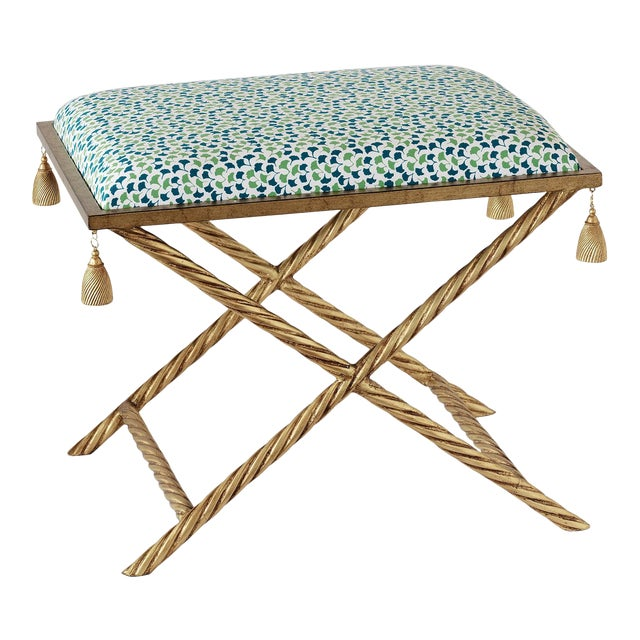 Madcap Cottage Gilt Metal Chinoiserie Tassel Bench With Leaf Print Fabric For Sale