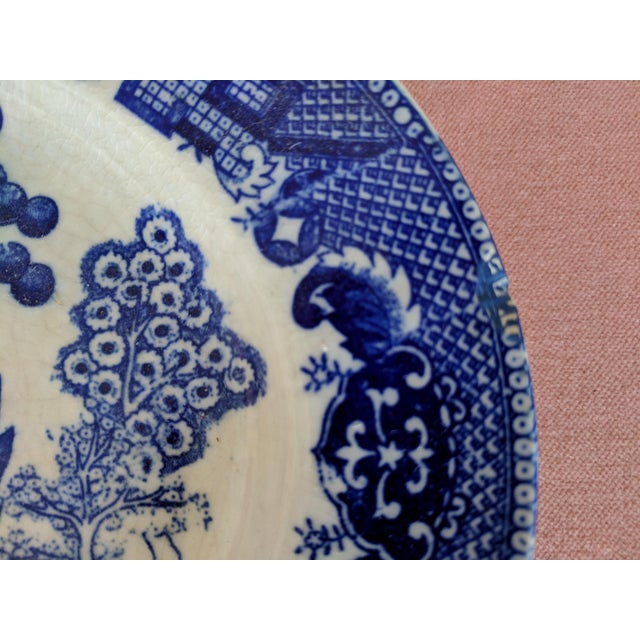 Ceramic Vintage Blue Willow Pagoda Decorative Platter With Hanger For Sale - Image 7 of 10