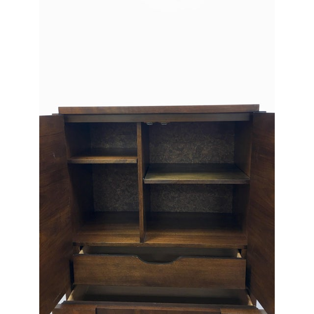 Walnut Brutalist Armoire by Lane For Sale - Image 7 of 13