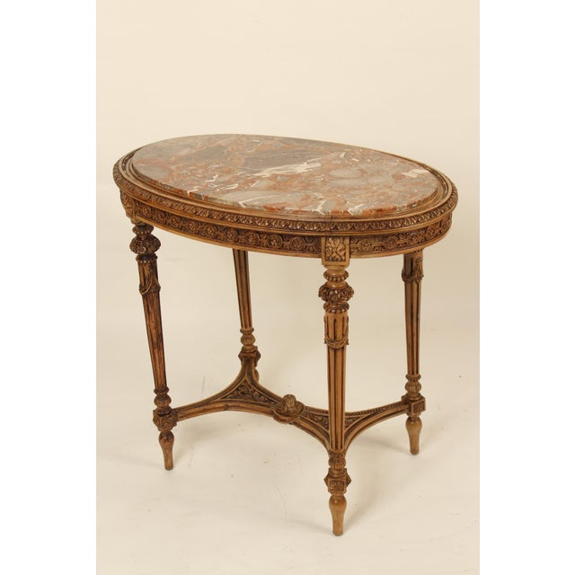 1930s 1930s Louis XVI Carved Marble Top Table For Sale - Image 5 of 13