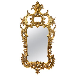 Carved Gilt Gold Leaf Italian Wall or Console Mirror in Rococo Renaissance Form For Sale