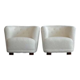 Danish 1940s Viggo Boesen Style Lounge or Club Chairs in Lambswool - a Pair For Sale