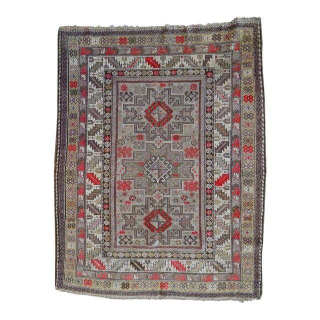 Distressed Vintage Star Kazak Rug - 3′9″ × 5′ - Image 1 of 9