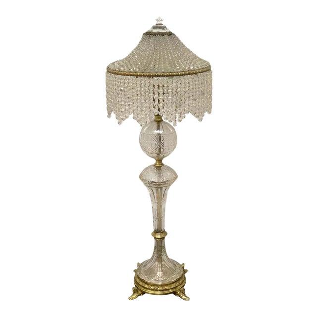 Austrian Art Deco Crystal & Bronze Boudoir Lamp, With Sphinx Feet For Sale