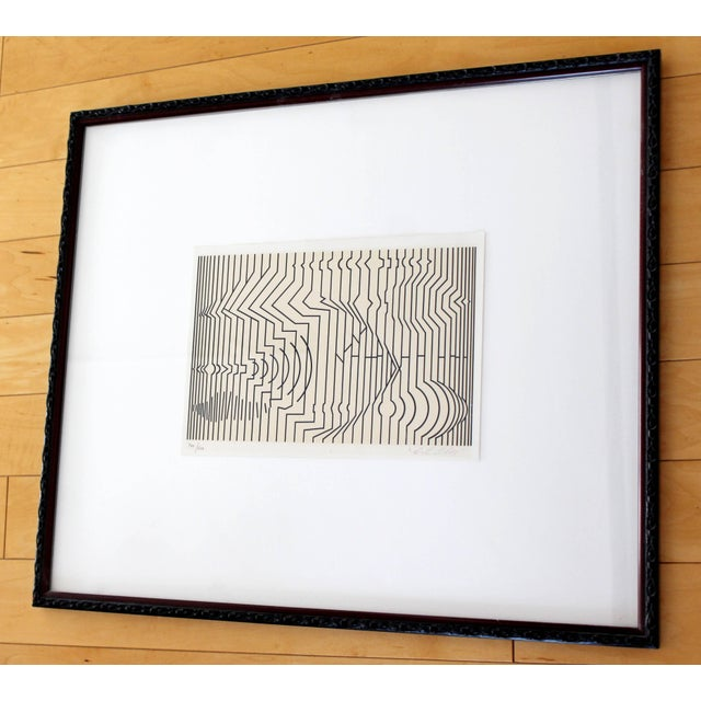 Contemporary Mid-Century Modern Framed Pop Art Print Signed Numbered by Vasarely 460/650 For Sale - Image 3 of 7