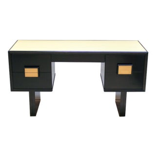 Vintage Art Deco-Style Ebonized Desk With Leather Top For Sale