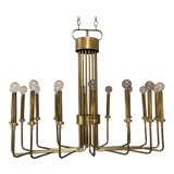 Image of 1960s Tommi Parzinger Mid-Century Modern Brass Chandelier For Sale
