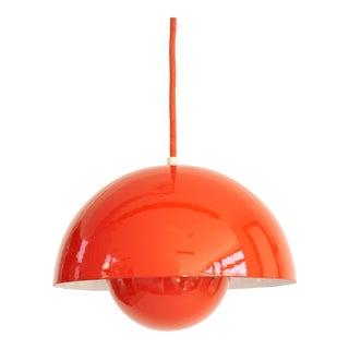 Vintage Orange Flower Pot Pendant by Verner Panton for Louis Poulsen For Sale