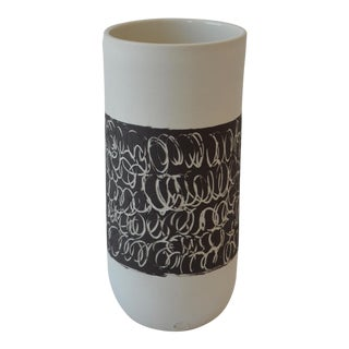 Contemporary Ceramic Scribble Stripe Cylindrical Vase For Sale