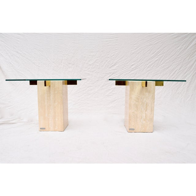 Artedi Travertine Marble Occasional Tables, Pair For Sale - Image 10 of 10