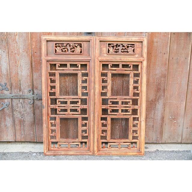 Elm Vintage Asian Lattice Carved Window Panels, Set of Two For Sale - Image 7 of 9