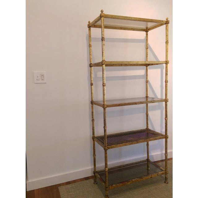 Maison Jansen Hollywood Regency Metal & Glass Etagere - Image 7 of 7