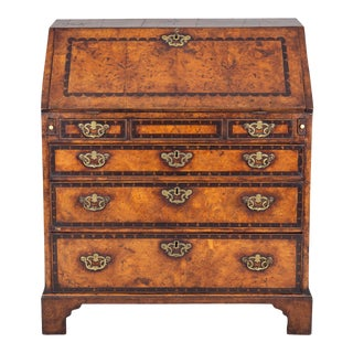 George III Period Yew Wood Slant Front Desk For Sale