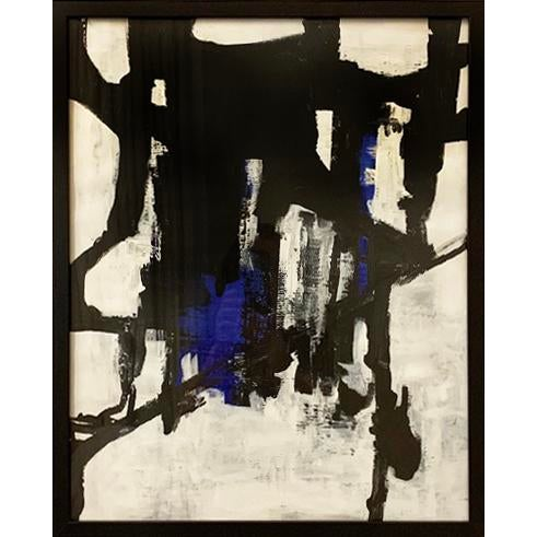 An original black and white acrylic painting with. pops of blue. This work on paper is framed in a simple black frame...