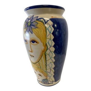 1980s Hand Painted Italian Vase For Sale