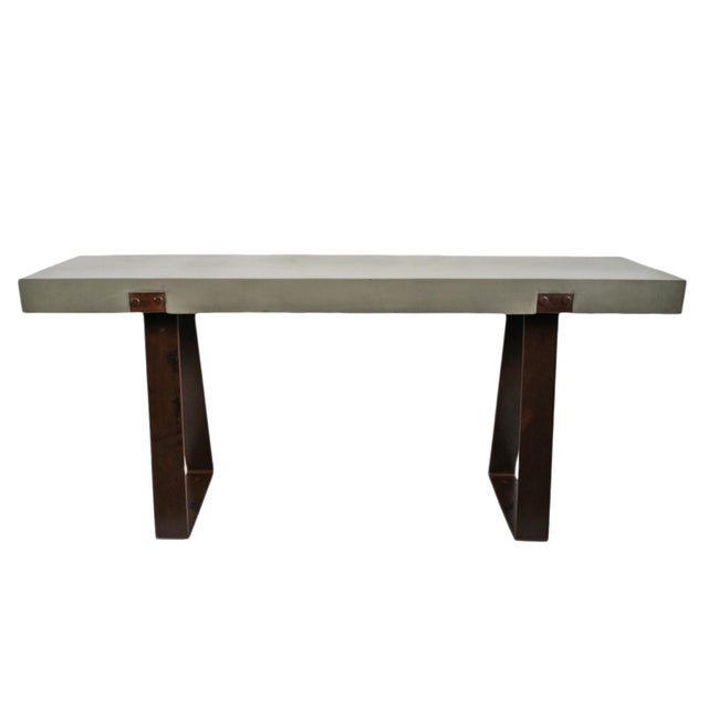 Outdoor Cement & Iron Console For Sale - Image 9 of 9